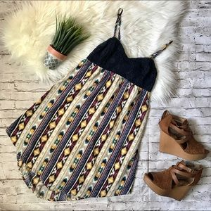 Tribal print open back dress